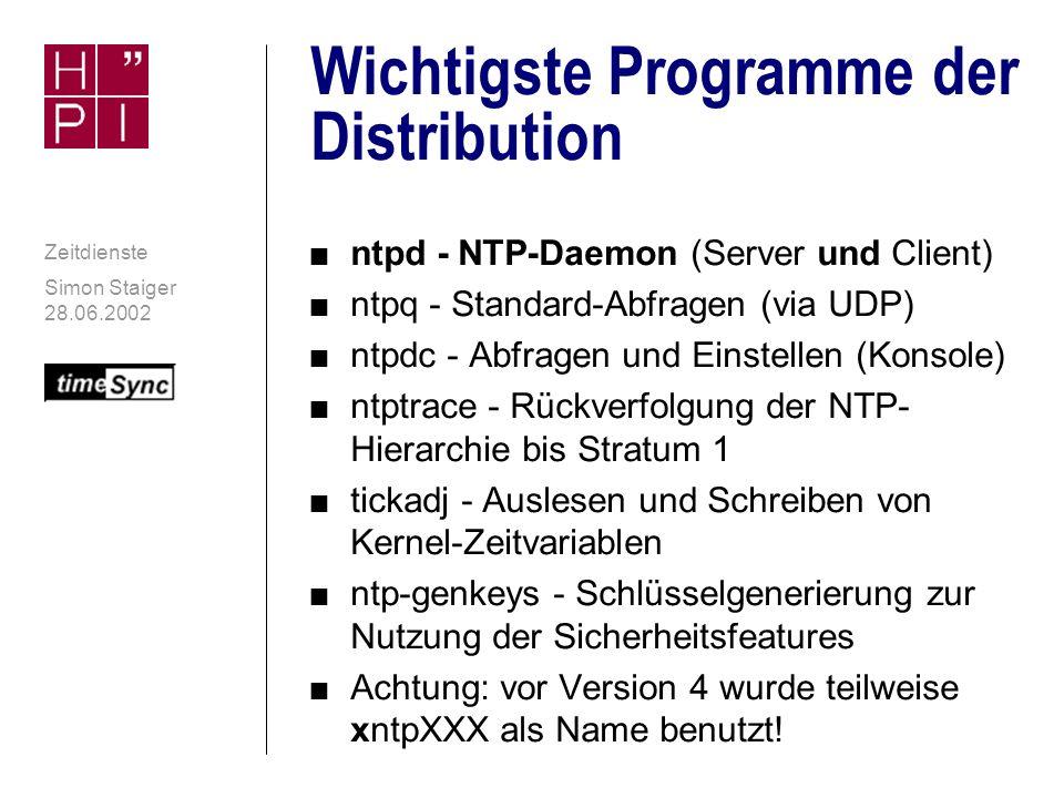 Simon Staiger 28.06.2002 Zeitdienste NTPv4: Plattformübergreifend n Ursprünglich entwickelt für Unix n Später auf andere Plattformen portiert n Momentan 24 Portierungen: n Alle relevanten Unix-Plattformen n Windows NT4 und 2000 n VMS n Nicht verfügbar für Windows 9x/ME n Fehlende Fähigkeiten dieser Systeme in Hinsicht auf gute Zeitsynchronisation