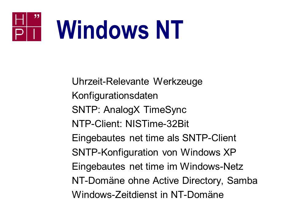 Simon Staiger 28.06.2002 Zeitdienste Linux speziell Debian GNU Linux 2.2r5 n ntpdate ist in der Standardinstallation enthalten n Debian-NTP-Paket liegt auf der ersten CD: n ntp (Version 4.1.0) n ntp-docs (Eigenes Paket mit HTML-Doku) Konfigurationsdatei: /etc/ntp.conf Startskript: /etc/init.d/ntp