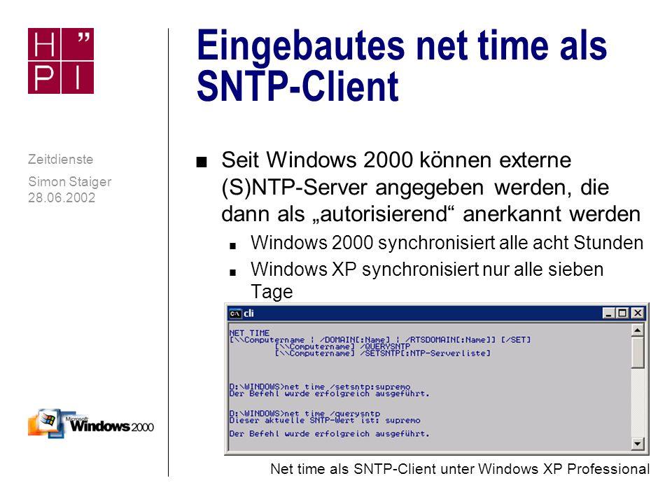 Simon Staiger 28.06.2002 Zeitdienste NTP-Client: NISTime-32Bit n NTP-Client der NIST mit sehr, sehr ausführlichen Installationshinweisen n Ausrichtung vor allem auf amerikanische Nutzer n Nur NIST-Server können ausgewählt werden n Freeware n Download: ftp://time-b.nist.gov/pub/daytime/nistime-32bit.exe ftp://time-b.nist.gov/pub/daytime/nistime-32bit.exe