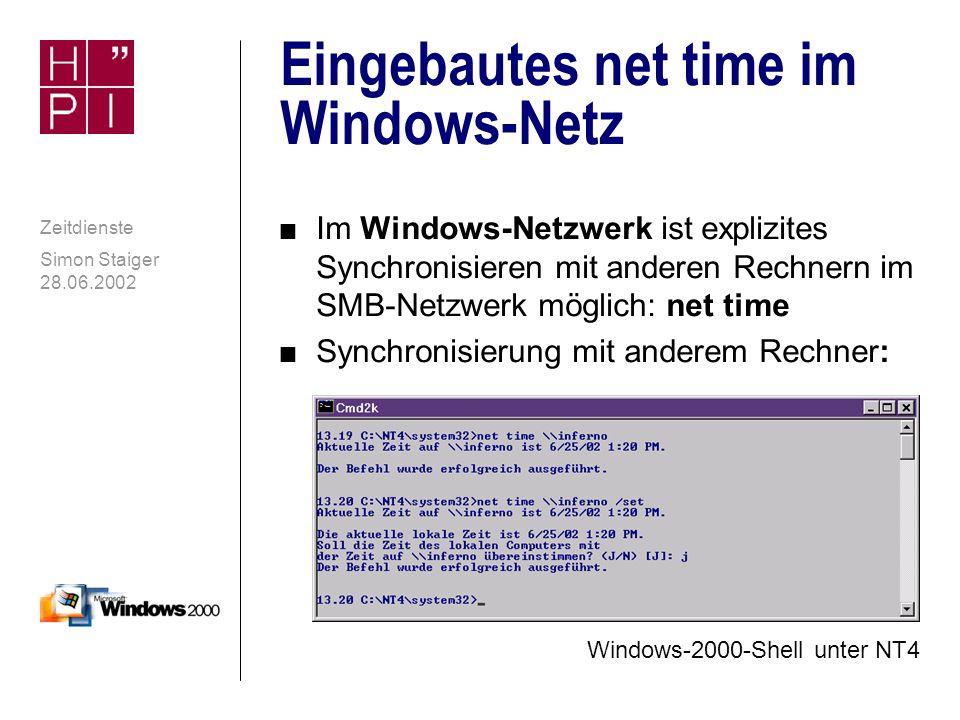 Simon Staiger 28.06.2002 Zeitdienste SNTP-Client von Windows XP contd.