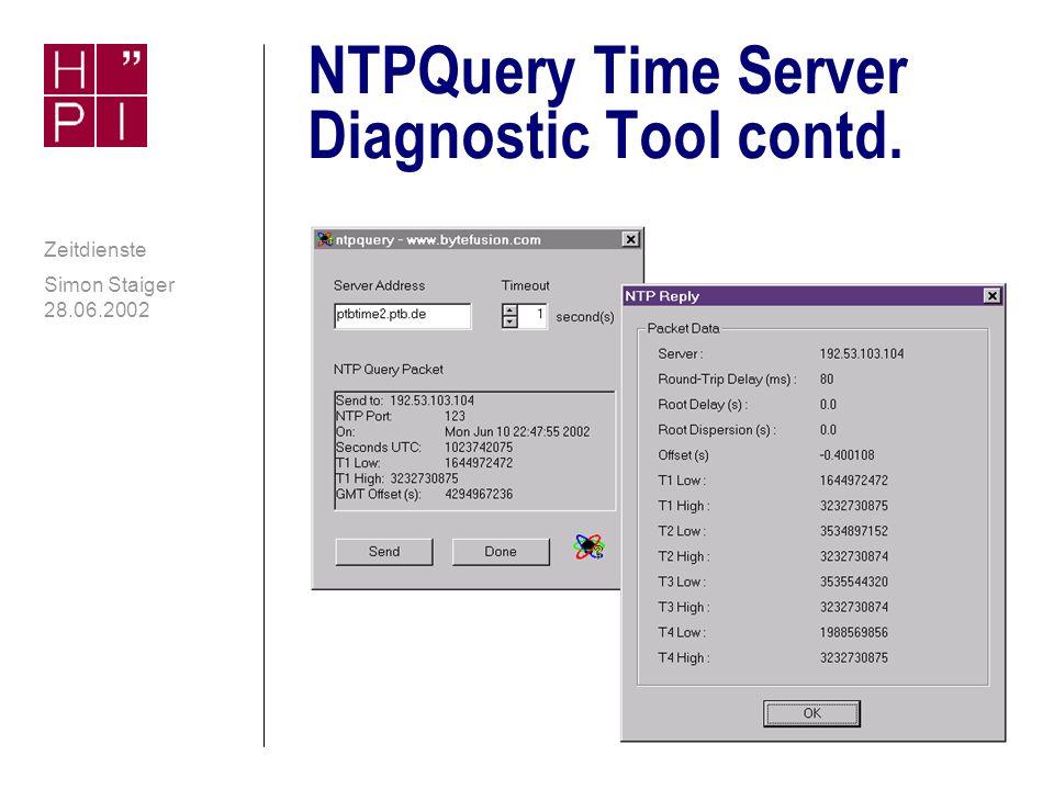 Simon Staiger 28.06.2002 Zeitdienste NTPQuery Time Server Diagnostic Tool n GUI-Diagnosewerkzeug für NTP- und SNTP-Server n Zeigt detaillierte Informationen über NTP- Queries und die Verlässlichkeit eines Servers an n Freeware für Windows n Download: http://www.bytefusion.com/ http://www.bytefusion.com/