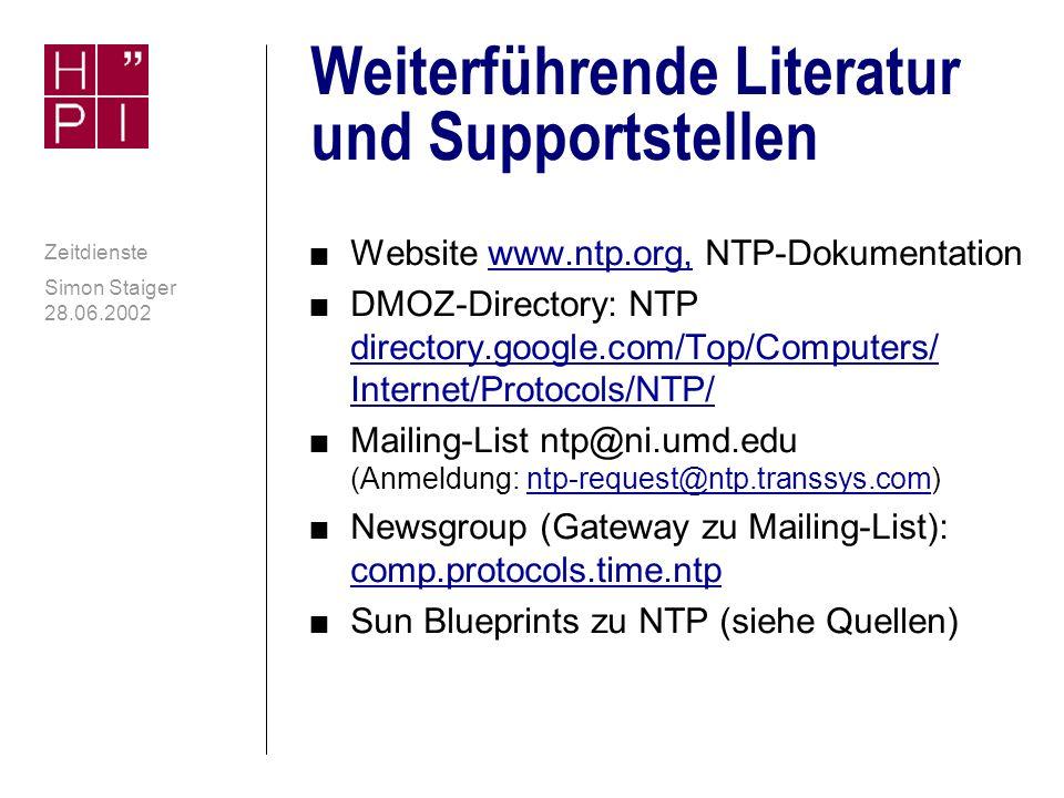 Anhang Weiterführende Literatur und Supportstellen Zeitzonen und DST unter Windows Empfehlungen des Autors Weitere NTP-Software (Clients) Zeit und Filesysteme Gesetzliche Zeit