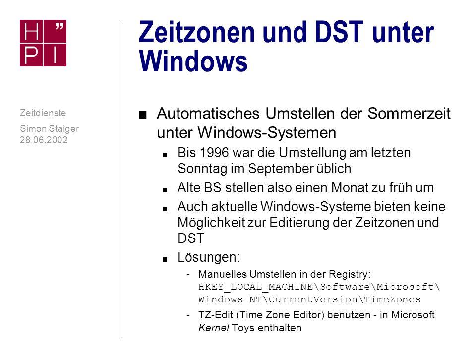 Simon Staiger 28.06.2002 Zeitdienste Weiterführende Literatur und Supportstellen n Website www.ntp.org, NTP-Dokumentationwww.ntp.org, n DMOZ-Directory: NTP directory.google.com/Top/Computers/ Internet/Protocols/NTP/ directory.google.com/Top/Computers/ Internet/Protocols/NTP/ n Mailing-List ntp@ni.umd.edu (Anmeldung: ntp-request@ntp.transsys.com)ntp-request@ntp.transsys.com n Newsgroup (Gateway zu Mailing-List): comp.protocols.time.ntp comp.protocols.time.ntp n Sun Blueprints zu NTP (siehe Quellen)