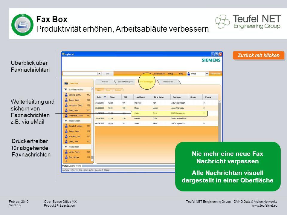 Teufel NET Engineering Group DVND Data & Voice Networks www.teufelnet.eu OpenScape Office MX Produkt Präsentation Seite 15 Februar 2010 Überblick über