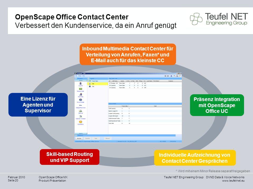 Teufel NET Engineering Group DVND Data & Voice Networks www.teufelnet.eu OpenScape Office MX Produkt Präsentation Seite 20 Februar 2010 OpenScape Offi