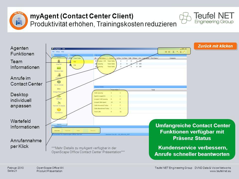 Teufel NET Engineering Group DVND Data & Voice Networks www.teufelnet.eu OpenScape Office MX Produkt Präsentation Seite 21 Februar 2010 myAgent (Conta