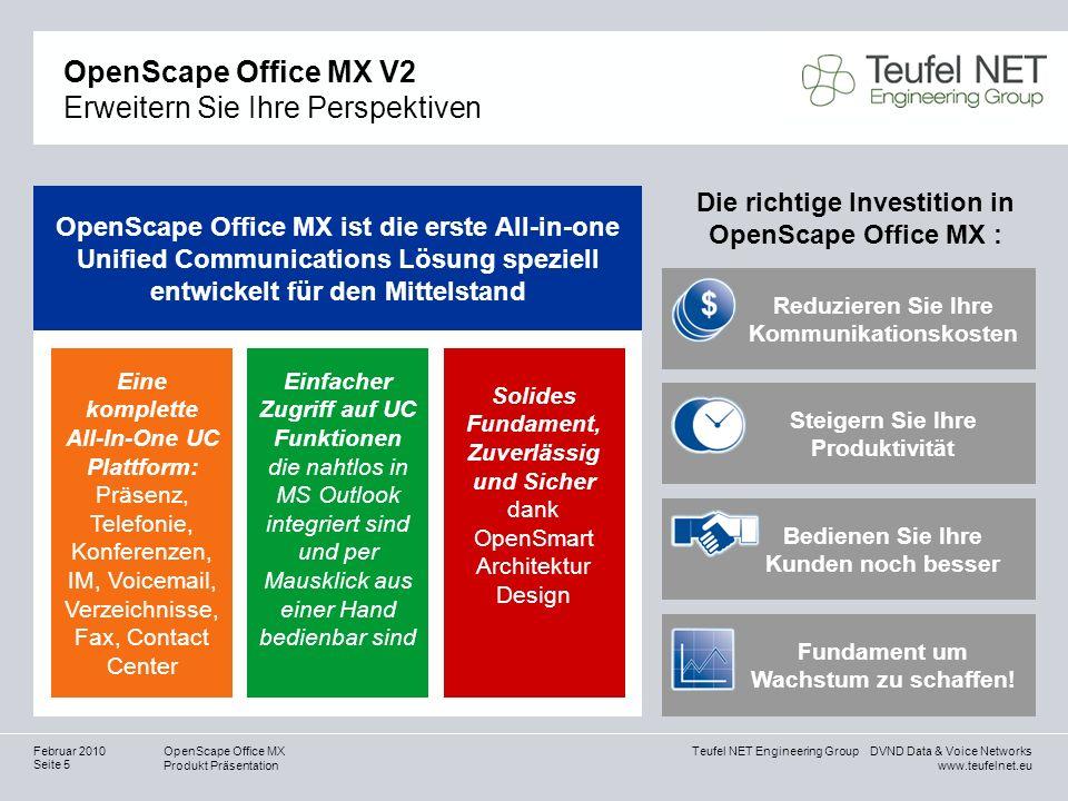 Teufel NET Engineering Group DVND Data & Voice Networks www.teufelnet.eu OpenScape Office MX Produkt Präsentation Seite 5 Februar 2010 OpenScape Offic