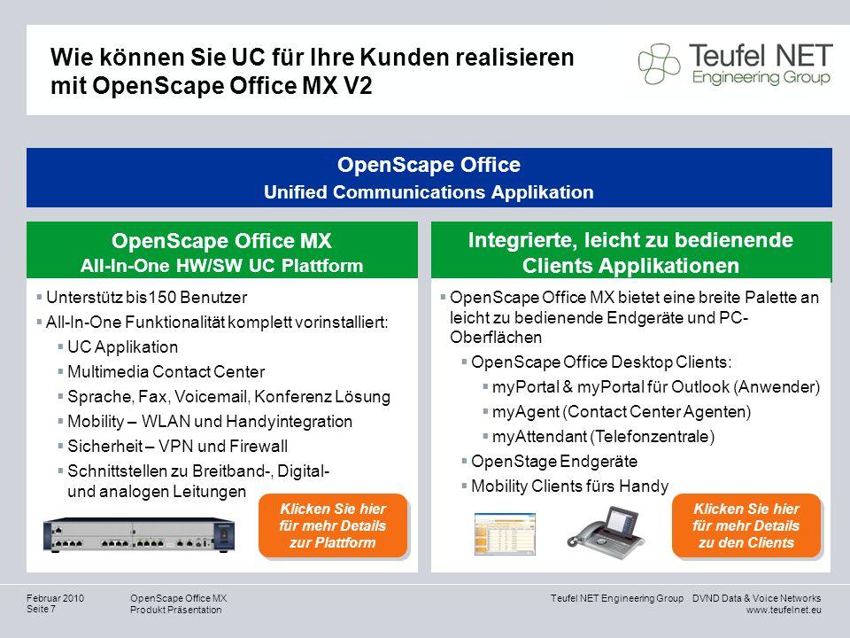 Teufel NET Engineering Group DVND Data & Voice Networks www.teufelnet.eu OpenScape Office MX Produkt Präsentation Seite 7 Februar 2010 OpenScape Offic