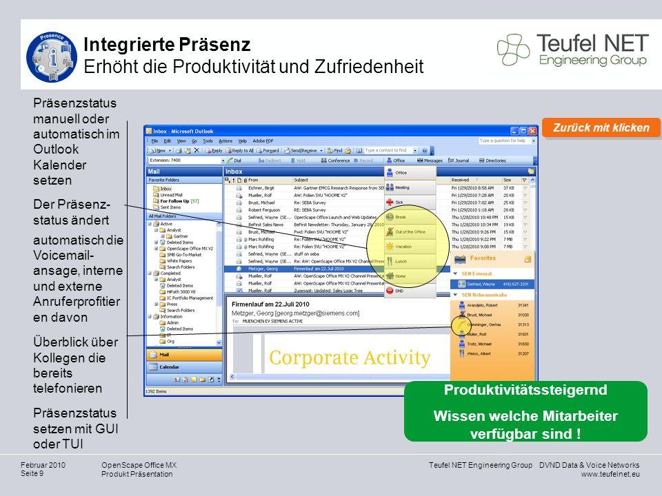 Teufel NET Engineering Group DVND Data & Voice Networks www.teufelnet.eu OpenScape Office MX Produkt Präsentation Seite 30 Februar 2010 Wie viel Geld verliert Ihr Unternehmen durch Kommunikationshindernisse.