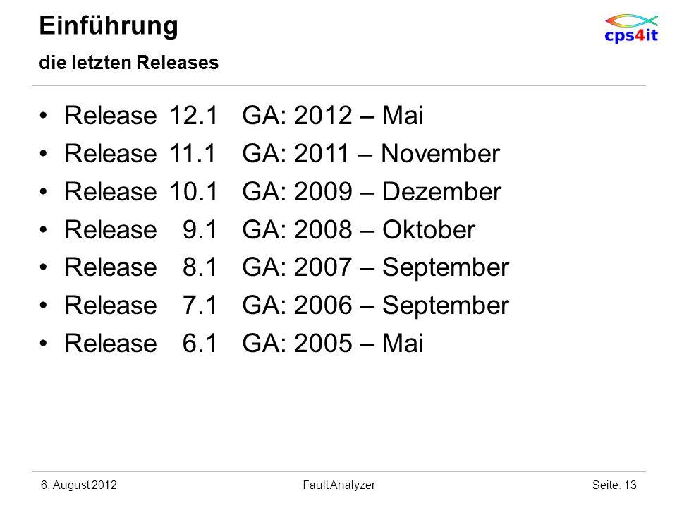 Einführung die letzten Releases Release 12.1GA: 2012 – Mai Release 11.1GA: 2011 – November Release 10.1GA: 2009 – Dezember Release 9.1GA: 2008 – Oktob