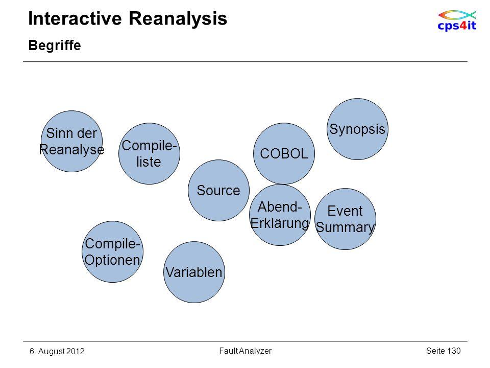 Interactive Reanalysis Begriffe 6. August 2012Seite 130Fault Analyzer Source COBOL Synopsis Sinn der Reanalyse Compile- liste Compile- Optionen Variab