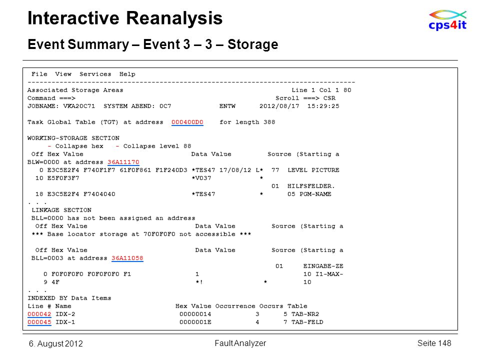 File View Services Help ---------------------------------------------------------------------------------- Associated Storage Areas Line 1 Col 1 80 Co