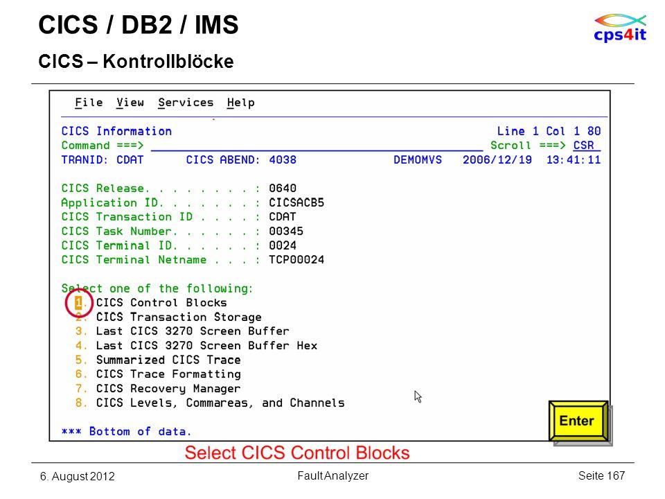 CICS / DB2 / IMS CICS – Kontrollblöcke 6. August 2012Seite 167Fault Analyzer