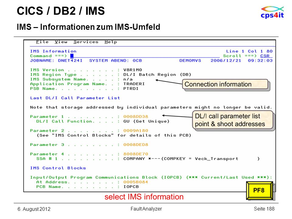 CICS / DB2 / IMS IMS – Informationen zum IMS-Umfeld 6. August 2012Seite 188Fault Analyzer