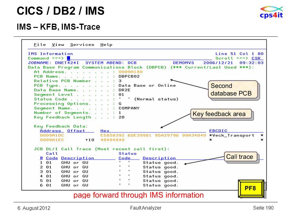 CICS / DB2 / IMS IMS – KFB, IMS-Trace 6. August 2012Seite 190Fault Analyzer