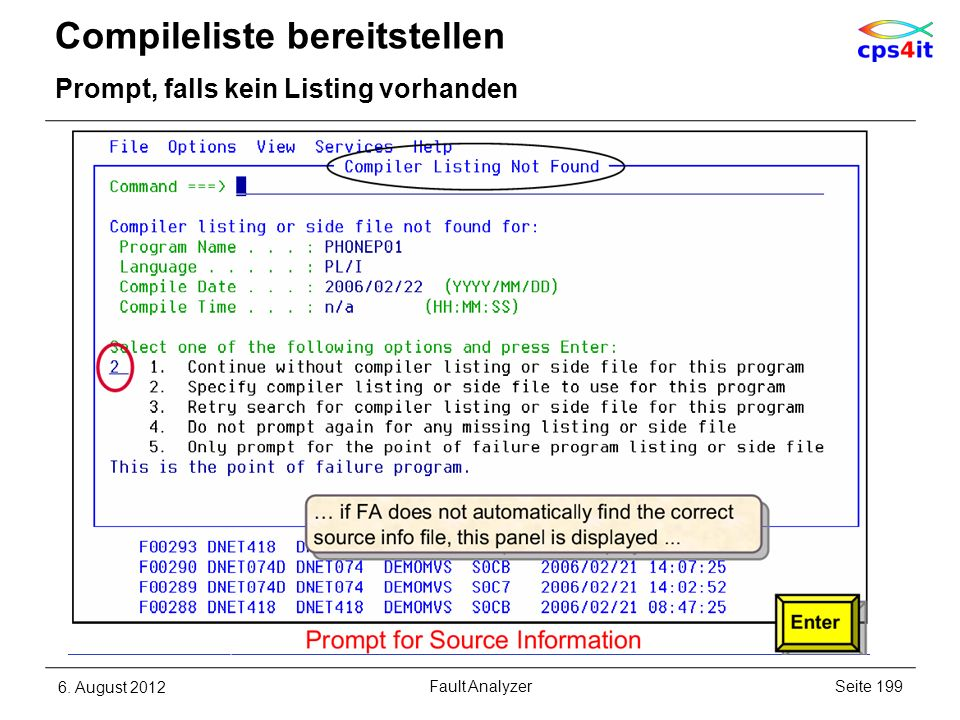 Compileliste bereitstellen Prompt, falls kein Listing vorhanden 6. August 2012Seite 199Fault Analyzer