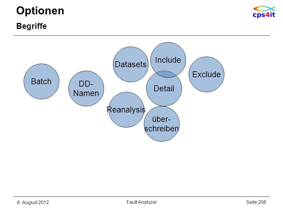 Optionen Begriffe 6. August 2012Seite 206Fault Analyzer Reanalysis Detail Exclude Batch DD- Namen über- schreiben Datasets Include