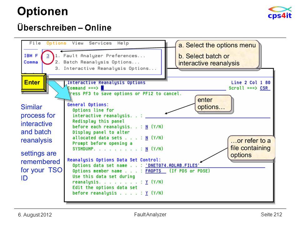 Optionen Überschreiben – Online 6. August 2012Seite 212Fault Analyzer