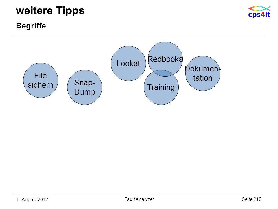 weitere Tipps Begriffe 6. August 2012Seite 218Fault Analyzer Training Dokumen- tation File sichern Snap- Dump Lookat Redbooks