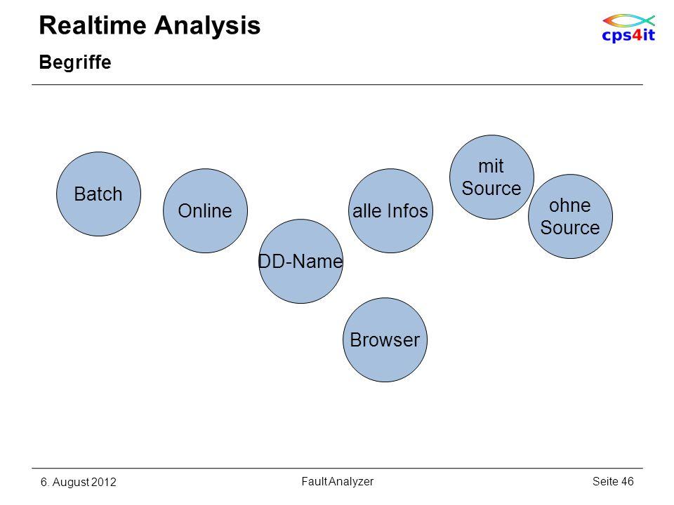 Realtime Analysis Begriffe 6. August 2012Seite 46Fault Analyzer DD-Name ohne Source alle Infos mit Source Batch Online Browser