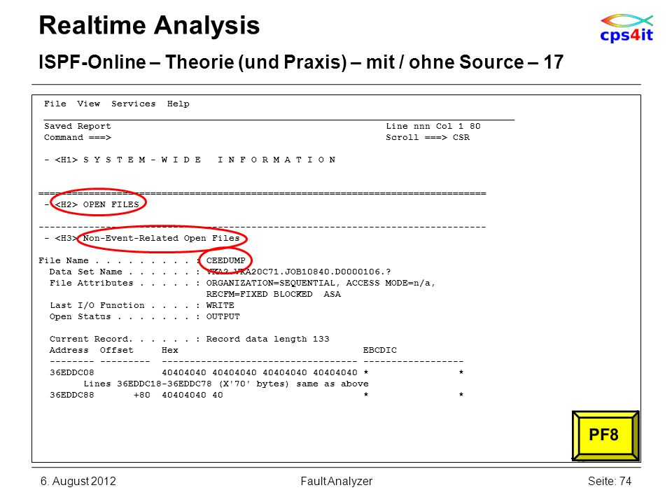 6. August 2012Seite: 74Fault Analyzer Realtime Analysis ISPF-Online – Theorie (und Praxis) – mit / ohne Source – 17 File View Services Help __________