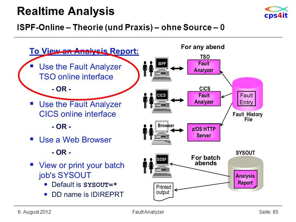 Realtime Analysis ISPF-Online – Theorie (und Praxis) – ohne Source – 0 6. August 2012Seite: 85Fault Analyzer