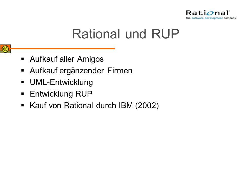 Rational und RUP Aufkauf aller Amigos Aufkauf ergänzender Firmen UML-Entwicklung Entwicklung RUP Kauf von Rational durch IBM (2002)