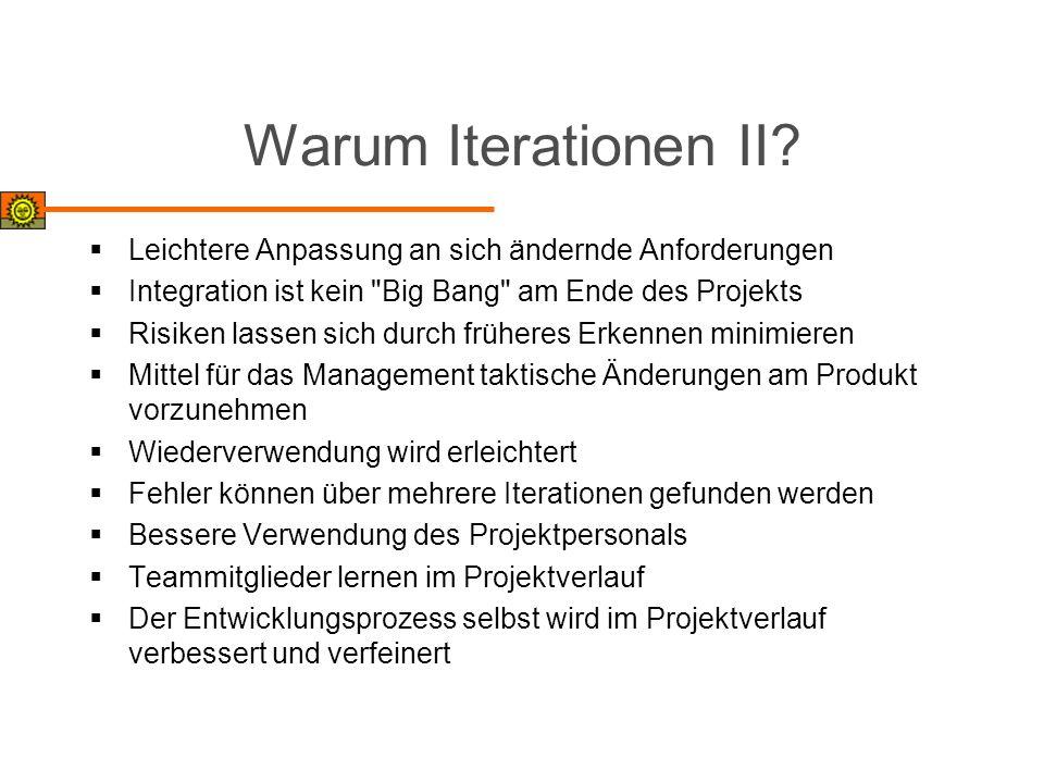 Warum Iterationen II? Leichtere Anpassung an sich ändernde Anforderungen Integration ist kein
