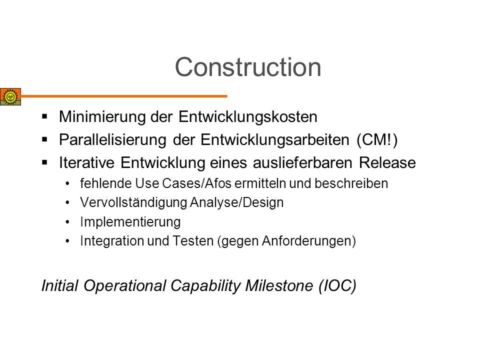 Construction Minimierung der Entwicklungskosten Parallelisierung der Entwicklungsarbeiten (CM!) Iterative Entwicklung eines auslieferbaren Release feh