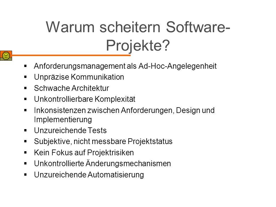 Warum scheitern Software- Projekte? Anforderungsmanagement als Ad-Hoc-Angelegenheit Unpräzise Kommunikation Schwache Architektur Unkontrollierbare Kom
