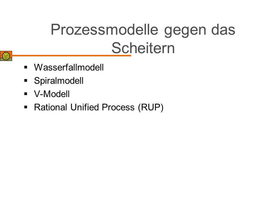 Prozessmodelle gegen das Scheitern Wasserfallmodell Spiralmodell V-Modell Rational Unified Process (RUP)