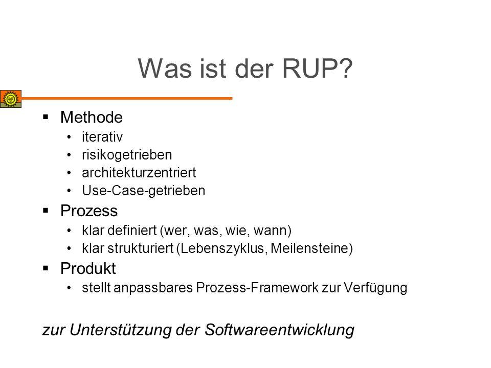 Was ist der RUP? Methode iterativ risikogetrieben architekturzentriert Use-Case-getrieben Prozess klar definiert (wer, was, wie, wann) klar strukturie