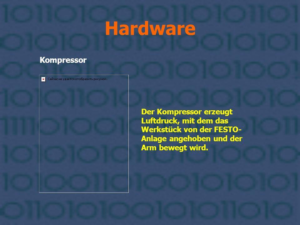 Hardware Kompressor Der Kompressor erzeugt Luftdruck, mit dem das Werkstück von der FESTO- Anlage angehoben und der Arm bewegt wird.