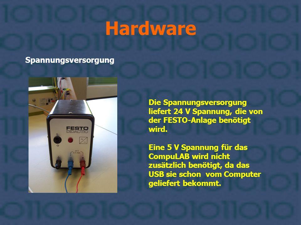 Hardware Spannungsversorgung Die Spannungsversorgung liefert 24 V Spannung, die von der FESTO-Anlage benötigt wird. Eine 5 V Spannung für das CompuLAB
