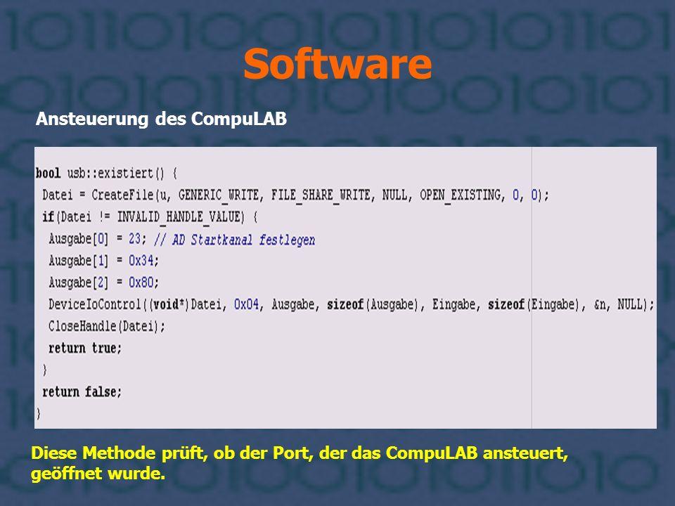 Software Ansteuerung des CompuLAB Diese Methode prüft, ob der Port, der das CompuLAB ansteuert, geöffnet wurde.