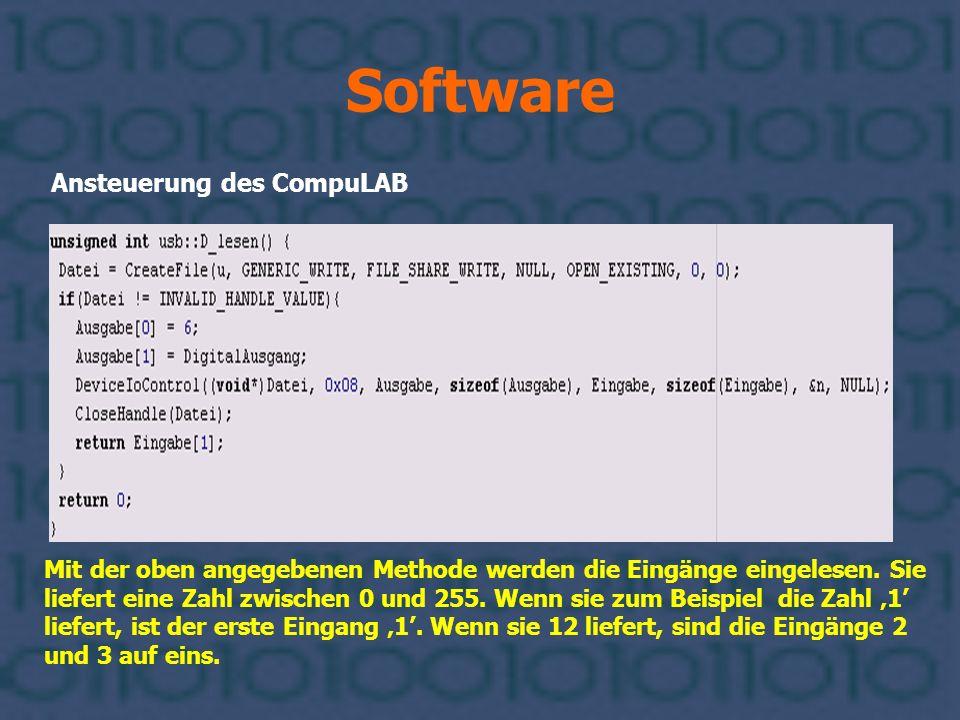 Software Ansteuerung des CompuLAB Mit der oben angegebenen Methode werden die Eingänge eingelesen. Sie liefert eine Zahl zwischen 0 und 255. Wenn sie
