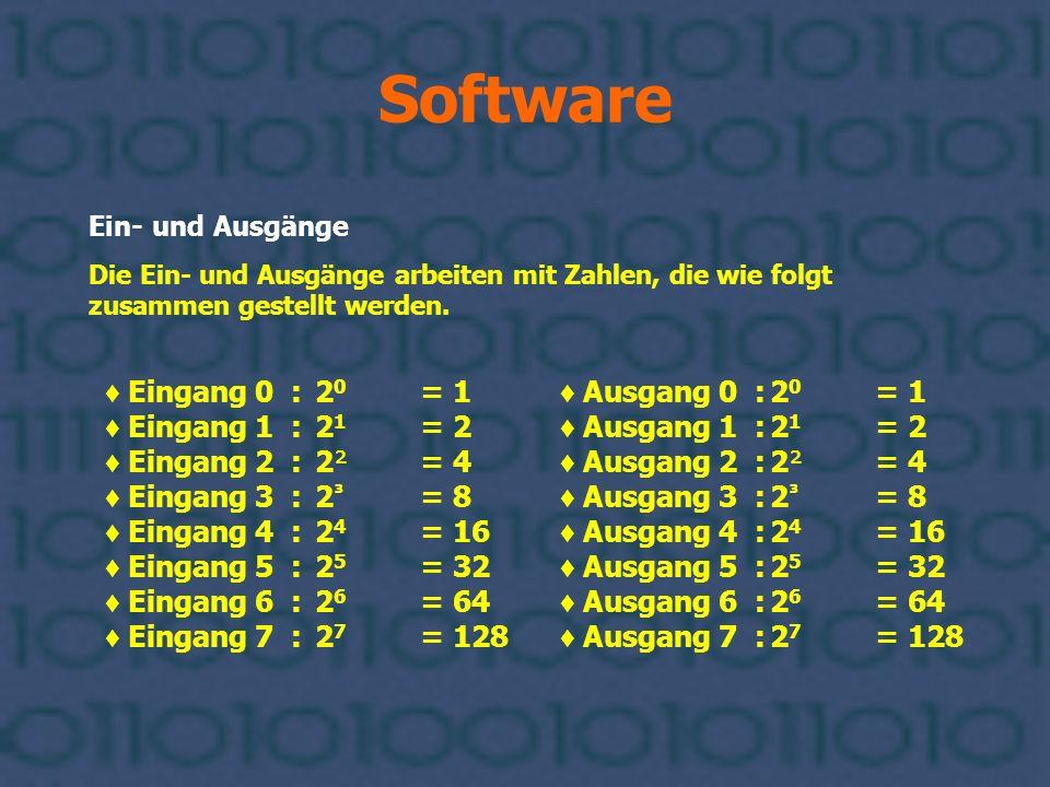 Software Ein- und Ausgänge Die Ein- und Ausgänge arbeiten mit Zahlen, die wie folgt zusammen gestellt werden. Eingang 0 :2 0 = 1 Eingang 1 :2 1 = 2 Ei