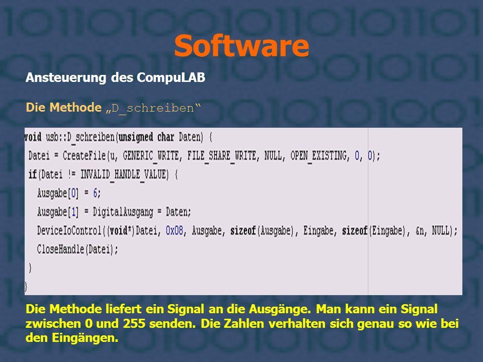 Software Ansteuerung des CompuLAB Die Methode D_schreiben Die Methode liefert ein Signal an die Ausgänge. Man kann ein Signal zwischen 0 und 255 sende