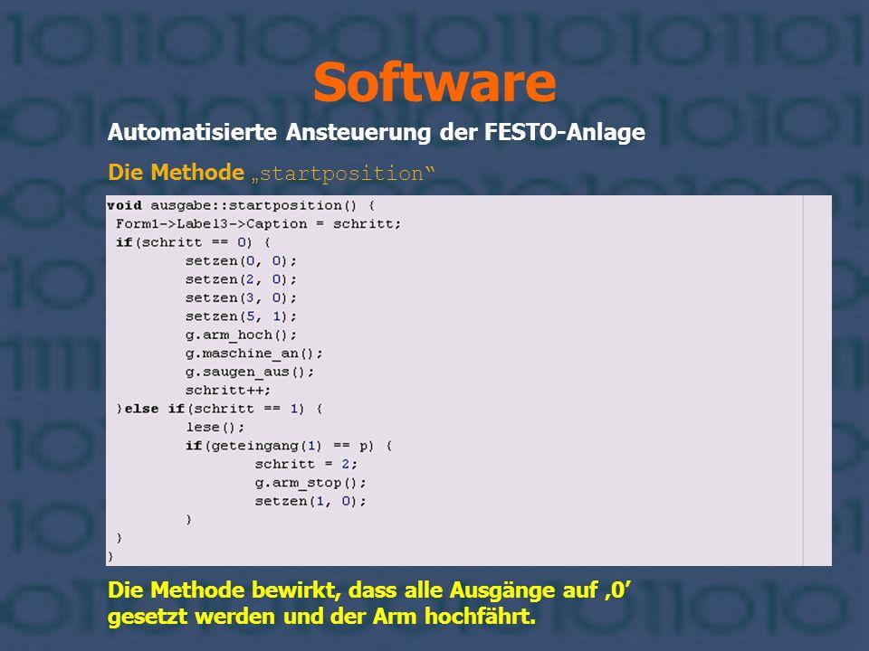 Software Automatisierte Ansteuerung der FESTO-Anlage Die Methode bewirkt, dass alle Ausgänge auf 0 gesetzt werden und der Arm hochfährt. Die Methode s