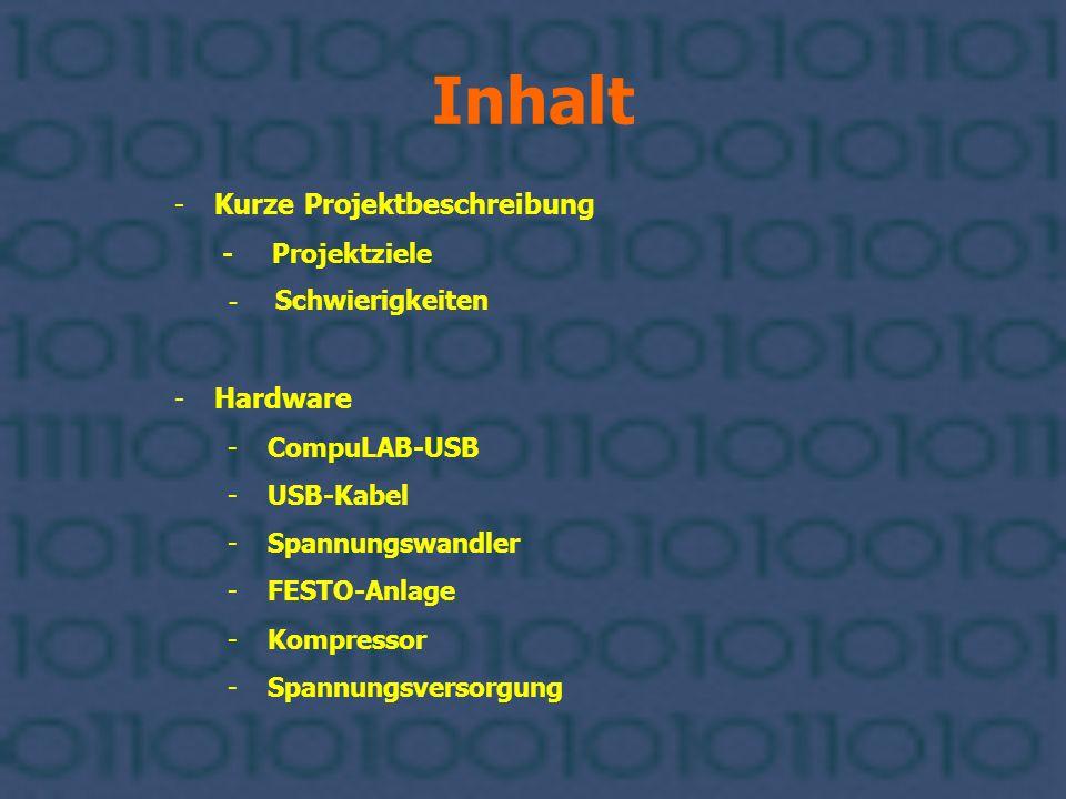 Inhalt -Kurze Projektbeschreibung - Projektziele - Schwierigkeiten -Hardware -CompuLAB-USB -USB-Kabel -Spannungswandler -FESTO-Anlage -Kompressor -Spa