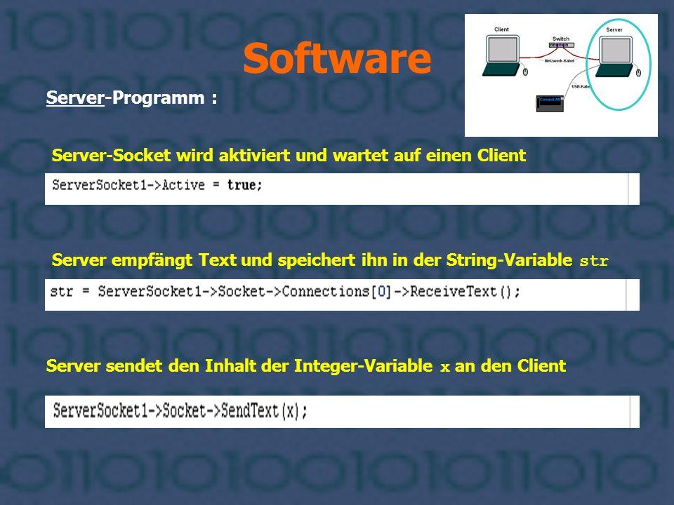 Software Server-Programm : Server sendet den Inhalt der Integer-Variable x an den Client Server empfängt Text und speichert ihn in der String-Variable
