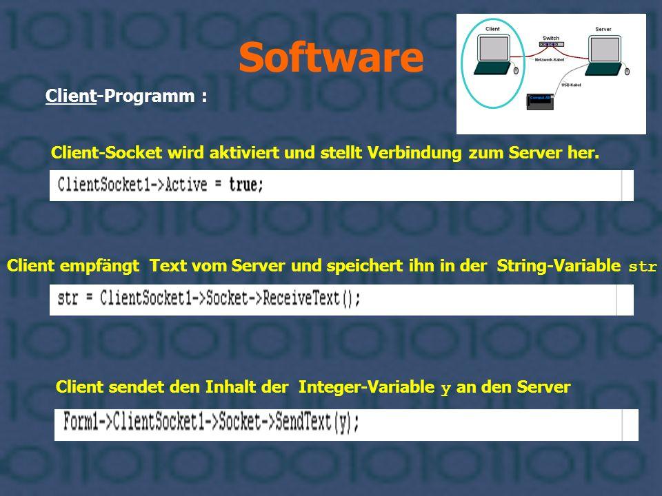 Software Client-Programm : Client sendet den Inhalt der Integer-Variable y an den Server Client empfängt Text vom Server und speichert ihn in der Stri