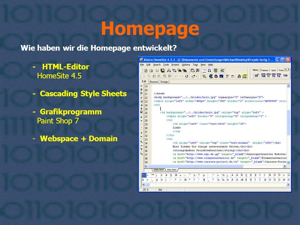 Homepage Wie haben wir die Homepage entwickelt? - HTML-Editor HomeSite 4.5 - Cascading Style Sheets - Grafikprogramm Paint Shop 7 - Webspace + Domain