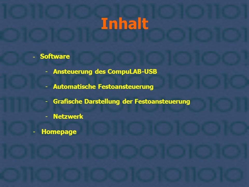 Software Netzwerk Das Client-Programm Es sendet Ansteuerungsbefehle an den Server, der sie dann an das CompuLAB weiter leitet.