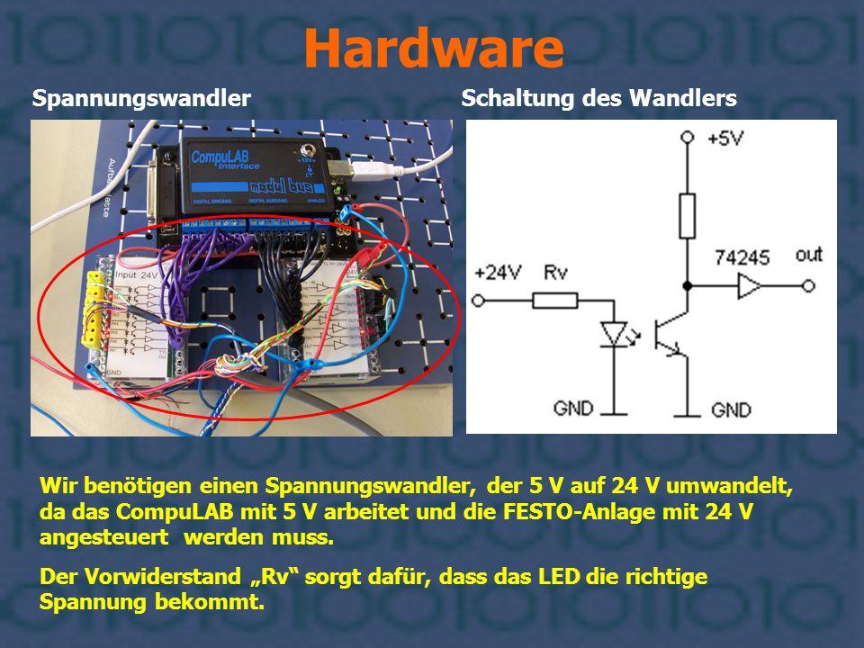 Hardware Spannungswandler Schaltung des Wandlers Wir benötigen einen Spannungswandler, der 5 V auf 24 V umwandelt, da das CompuLAB mit 5 V arbeitet un