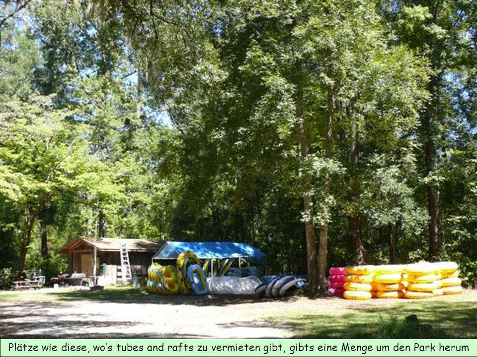 Plätze wie diese, wos tubes and rafts zu vermieten gibt, gibts eine Menge um den Park herum