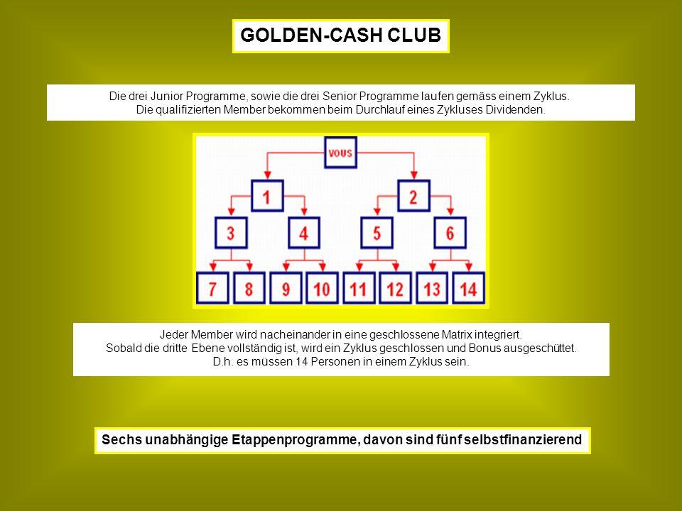 Sechs unabhängige Etappenprogramme, davon sind fünf selbstfinanzierend Jeder Member wird nacheinander in eine geschlossene Matrix integriert.
