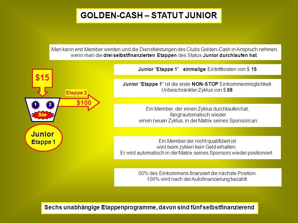 $100 $15 Sie 21 Junior Etappe 1 : einmalige Eintrittkosten von $ 15 Junior Etappe 1 ist die erste NON-STOP Einkommenmöglichkeit.