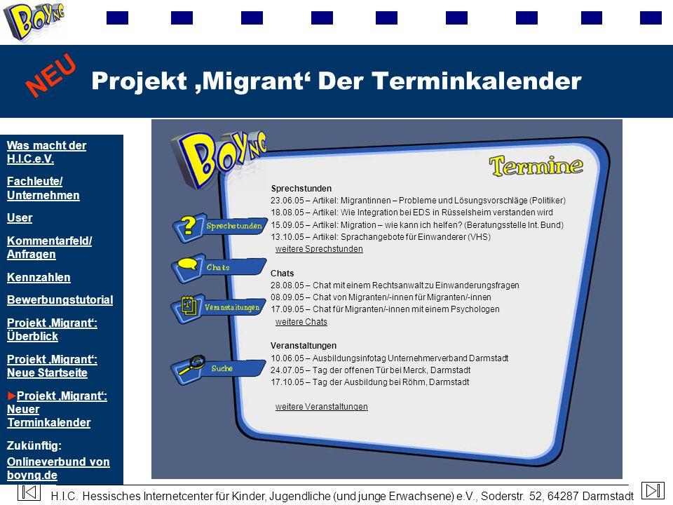 H.I.C. Hessisches Internetcenter für Kinder, Jugendliche (und junge Erwachsene) e.V., Soderstr. 52, 64287 Darmstadt Projekt Migrant Der Terminkalender