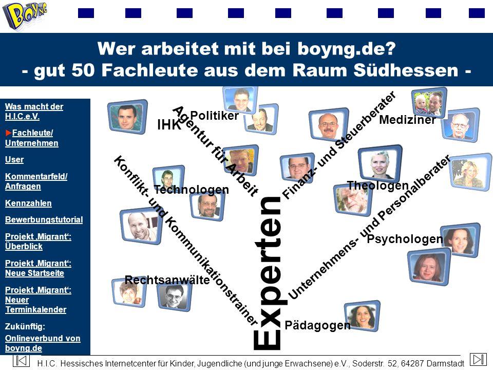 H.I.C. Hessisches Internetcenter für Kinder, Jugendliche (und junge Erwachsene) e.V., Soderstr. 52, 64287 Darmstadt Wer arbeitet mit bei boyng.de? - g